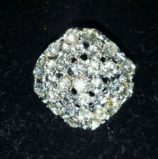 Rhinstones in Silver tone Setting Brooch / Pin