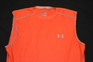 Under Armour HeatGear Fitted Men's Large Sleeveless Orange Activewear T-Shirt