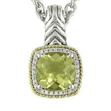 18k Gold & Sterling Silver Cushion Cut Lemon Quartz Diamond Pendant ACP107/14-LQ