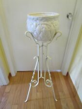 "Victorian Wrought Twisted iron plant fish bowl stand antique flower 35"" tall"
