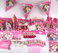 Baby Kids Birthday Party Shower Banner Tableware Supplies Unicorn Theme Decor