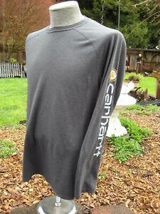 Carhartt Force Extremes Mens Large Logo Long Sleeve T Shirt Crew Neck EUC