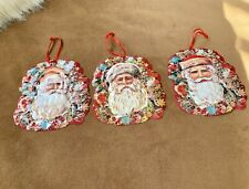 Lot Of 3 Tin Santa Christmas Ornaments