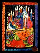 LAUREL BURCH Cats Kittens Birds Cake Candles -  Birthday Greeting Card - NEW