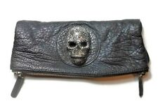 THOMAS WYLDE  BLACK LEATHER CRYSTAL SKULL FOLD-OVER CLUTCH BAG PURSE