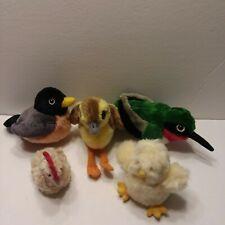 Lot of 3 K&M International Birds/Duck w/Sound Plush + Chick w/Sound & Rooster
