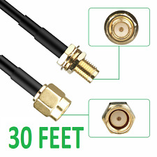 30FT WiFi Antenna RP-SMA Male to Female Connector Extension Coaxial Cable Cord