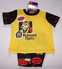 Richmond Tigers AFL Boys Yellow Black Cotton Satin Pyjama Set Size 0 New
