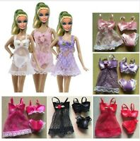 m BIANCHERIA INTIMA 3 PEZZI BARBIE BABY DOLL NIGHT DRESS SEXY CON MERLETTO HOT