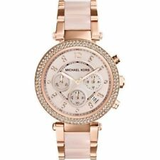 Michael Kors Parker 39mm Rose Gold-Tone Blush Acetate Watch for Women (MK5896)