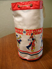 Vintage 70's Disney Toy Bag Parade Leather Cinch Bag Beach Tote Mickey Goofy
