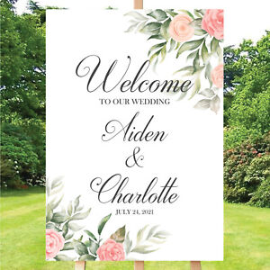 Personalised Welcome To The Wedding Sign board, Decor, Floral themed, A4