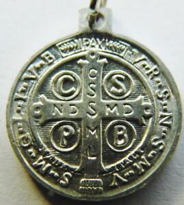Vintage Catholic St. Benedict Shield Holy Medal Patron Saint Exorcism Protection