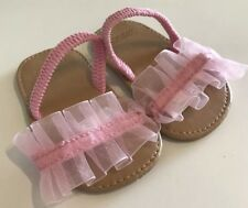 Gymboree Baby Girl Sandals Pink Ruffles Size 2 Crib Shoes Ballet