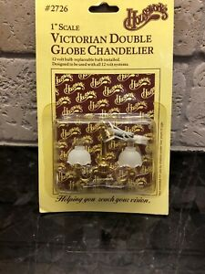 "Houseworks Victorian Double Globe Chandelier 1"" Scale Dollhouse Miniature #2726"
