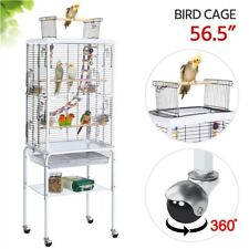 Open Top Transparent Bird Cage w/ Toys for Parakeets/Budgies/Cockati els Used