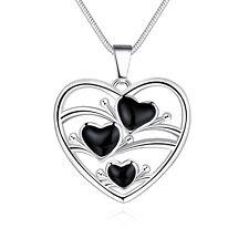 Filigree Heart Pendant Necklace N445 925 Hallmark Sterling Silver Filled