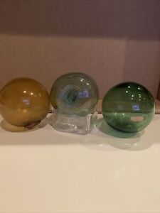 3 Marked Vintage Glass Fishing Floats 3 Inches