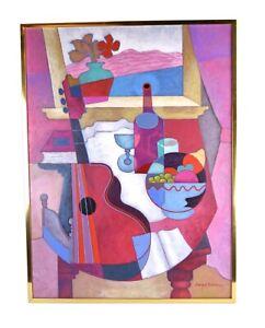 Vintage Enrique Sanchez Cubist Still Life Oil Painting with Guitar