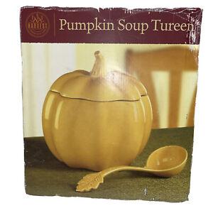 Large Ceramic Harvest Pumpkin Soup/Chili Tureen w/Ladle Approx 5 Quarts