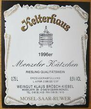 Etiquettes vin ALLEMAGNE Klaus Brosch-Kiebel KELTERHAUS 1996er wine labels