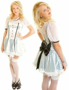 Victorian Alice in Wonderland Sexy Book Day Adult Fancy Dress Costume Outfit New