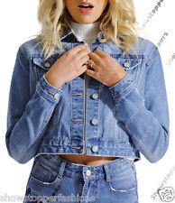 NEW Denim Jacket Womens Jean Jackets Ladies Blue Floral Size 6 8 10 12 14