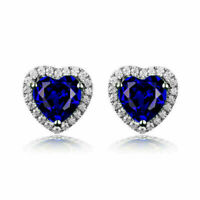 4Ct Heart Cut Blue Sapphire Push Back Halo Stud Earrings 14K White Gold Over