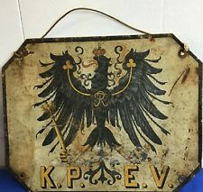 Rare Royal Prussian German Railroad Car Imperial Eagle Plate Train Wwi