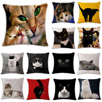 Chair Sofa Cushion Cover Cute Cat Printed Linen Waist Pillow Case Home Decor
