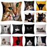 Chair Sofa Cushion Cover Cute Cat Printed Linen Waist Pillow Case Home Decor