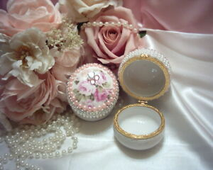 Shabby Victorian Chic TWO Trinket Boxes~WHITE~Rose Design~Gemstones~Faux Pearls