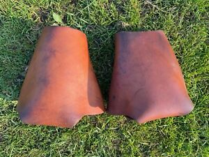Used Western stirrups w/leather hoods /safety covers /  tapaderos good condition
