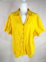Carolina Colors Plus Women's Shirt Size 24 Bright Yellow Short Sleeve Stretch