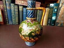 18th / 19th c Majolica Flagon / Jug / Vase Chinoiserie Pattern