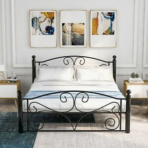 Modern Metal Bed Frame 3FT/4FT6 large storage space with Headboard &Footboad