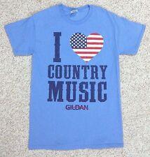 Unisex(Sm) 2014 I Love Country Music Tee Light-Blue American Flag Heart Gildan