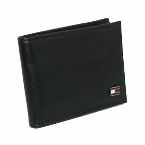 New Tommy Hilfiger Men's Leather Credit Card Billfold Bifold Wallet Black