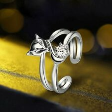 New Party Jewelry Wedding Silver Plated Adjustable Fox Ring Crystal