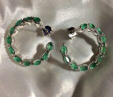 1.5 Ct, Kagem Zambian, Emerald Hoop Earrings, Platinum On Sterling Silver