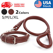 Large Heavy Duty PU leather+Collar Dog Leash with Handle for Dog Training Walkin