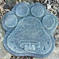 "Dog paw plaque mold 10"" x 9.5"" x 3/4"" thick plaster concrete casting mould"