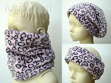 Infant baby PINK LEOPARD NECK WARMER toddler child scarf snood cuddle fleece ski