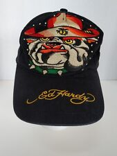 Ed Hardy Hat Cap Women Embroided Bulldog W 55 Black with Gold Script Rhinestones