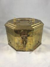 Vintage Brass Hexagonal Cricket Cage Potpourri Hinged Box With Handle And Latch