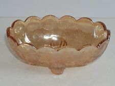 Vintage Depression Glass Oval Footed Candy Dish Amber Gold Floral Pattern