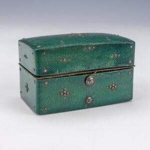 Antique Green Snake Skin Covered - Inkwell Travel Ink Well Bottle Set