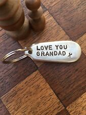 "Handmade Cutlery Handle Silver Plated Keyring ""Love You Grandad"" Birthday Gift"