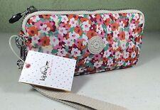 New Kipling Bernard Meadow Flower Orange Phone Wristlet Wallet Clutch AC8254