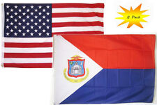 3x5 3'x5' Wholesale Set (2 Pack) USA American & Sint Maarten Country Flag Banner
